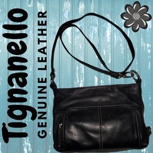 Tignanello Genuine Leather Black Cross-body Bag